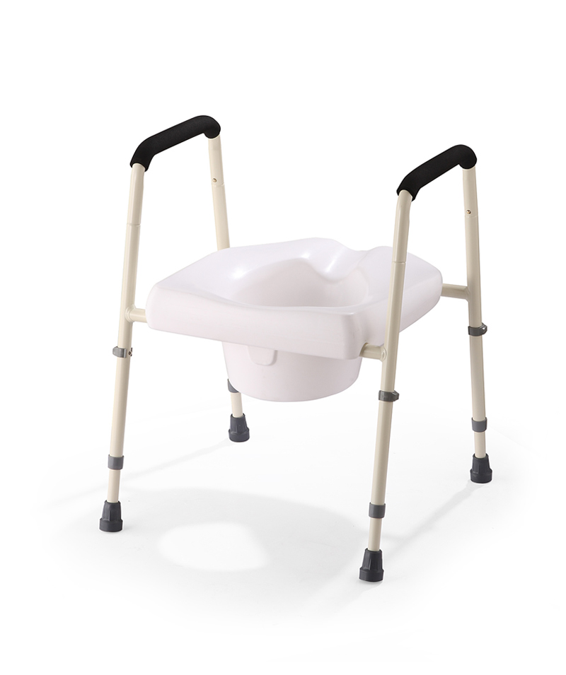 Raised toilet seat with frame